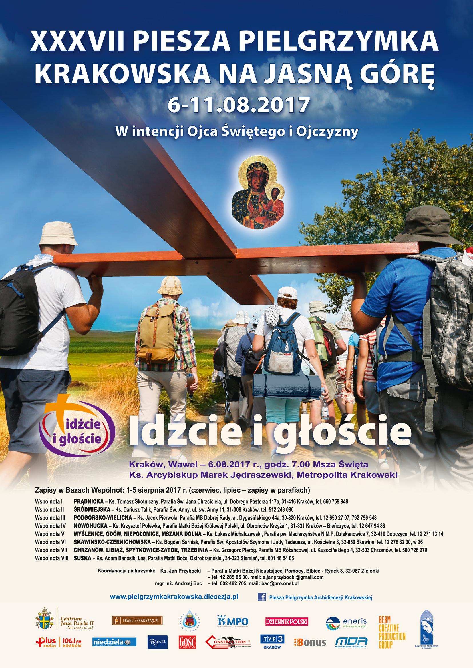 Plakat XXXVII Pieszej Pielgrzymki Krakowskiej na Jasną Górę