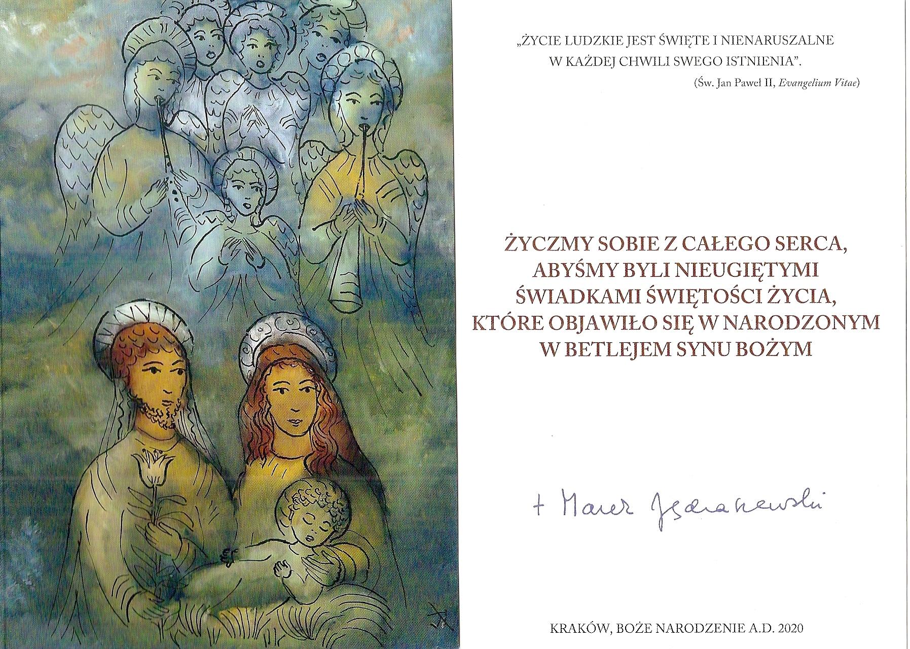 Życzenia metropolity abpa Marka Jędraszewskiego na Święta Bożego Narodzenia 2020